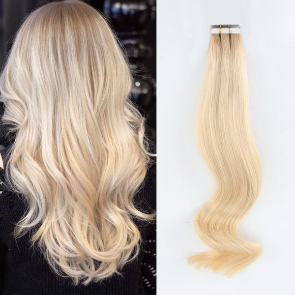 Rooted Remy Tape-In Hair Extension Color #12 Warm Light Brown into #60 Pale Ash Blonde
