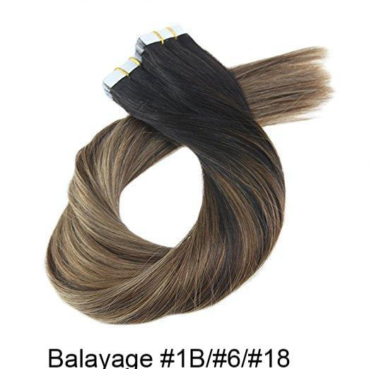 Ombre, Balayage, and Highlighted Tape-In Hair Extensions- 16 inches in Length