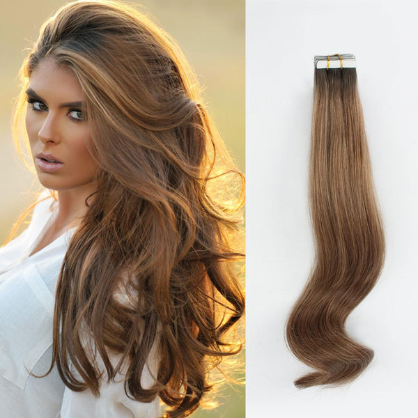 Rooted Remy Tape-In Hair Extension Color #2 Dark Brown into #6 Chestnut Brown
