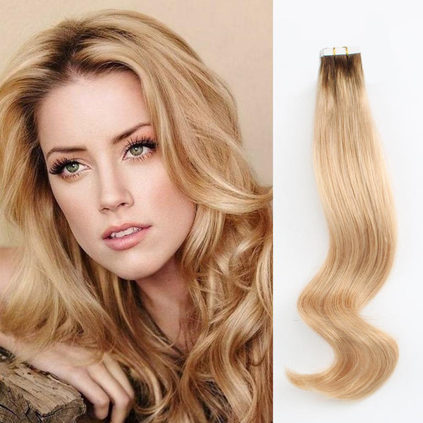 Rooted Remy Tape-In Hair Extension Color #4 Chocolate Brown into #16 Dirty Blonde
