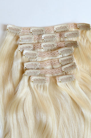 Lightest Blonde Clip-In Hair Extensions- 20 inches / 200 gram full head set of 100% Remy clip-in human hair extensions