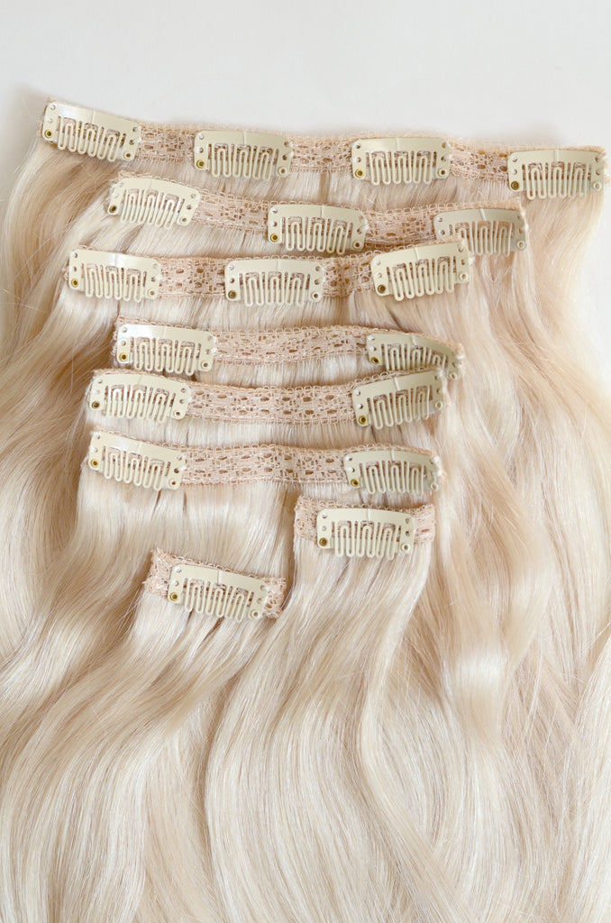 Pale Ash Blonde Clip In Hair Extensions 20 Inches 200 Gram Full