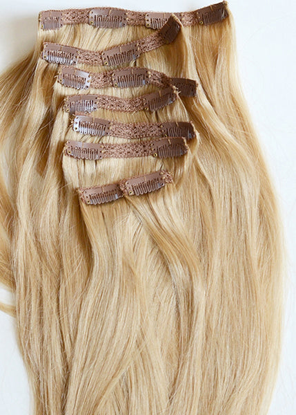 100% remy clip-in human hair extensions 20 inches Color #24 Beach Blonde