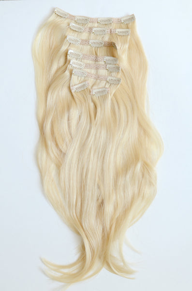 Pure Blonde Clip-In Hair Extensions- 20 inches / 200 gram full head set of 100% Remy clip-in human hair extensions