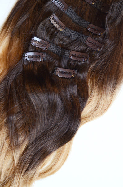 20 inches / 200 gram full head set of Dark Warm Ombre 100% Remy clip-in human hair extensions