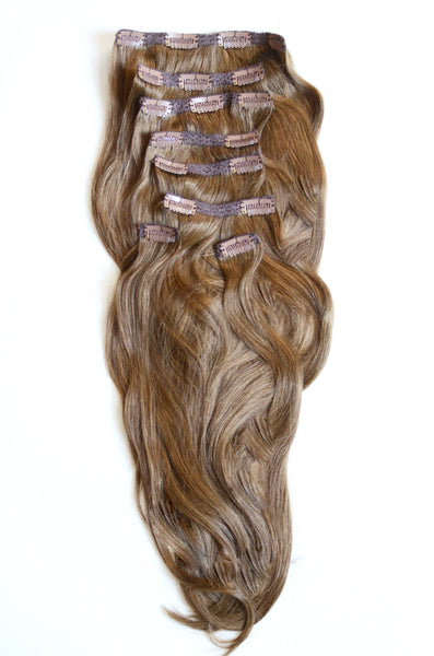 Honeyed Brown Clip-In Hair Extensions-20 inches / 200 gram full head set of 100% Remy clip-in human hair extensions