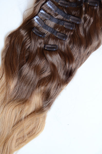20 inches / 200 gram full head set of Light Warm Ombre 100% Remy clip-in human hair extensions