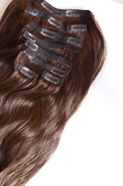 100% Remy clip-in human hair extensions 20 inches Color #4 Chocolate Sparkle