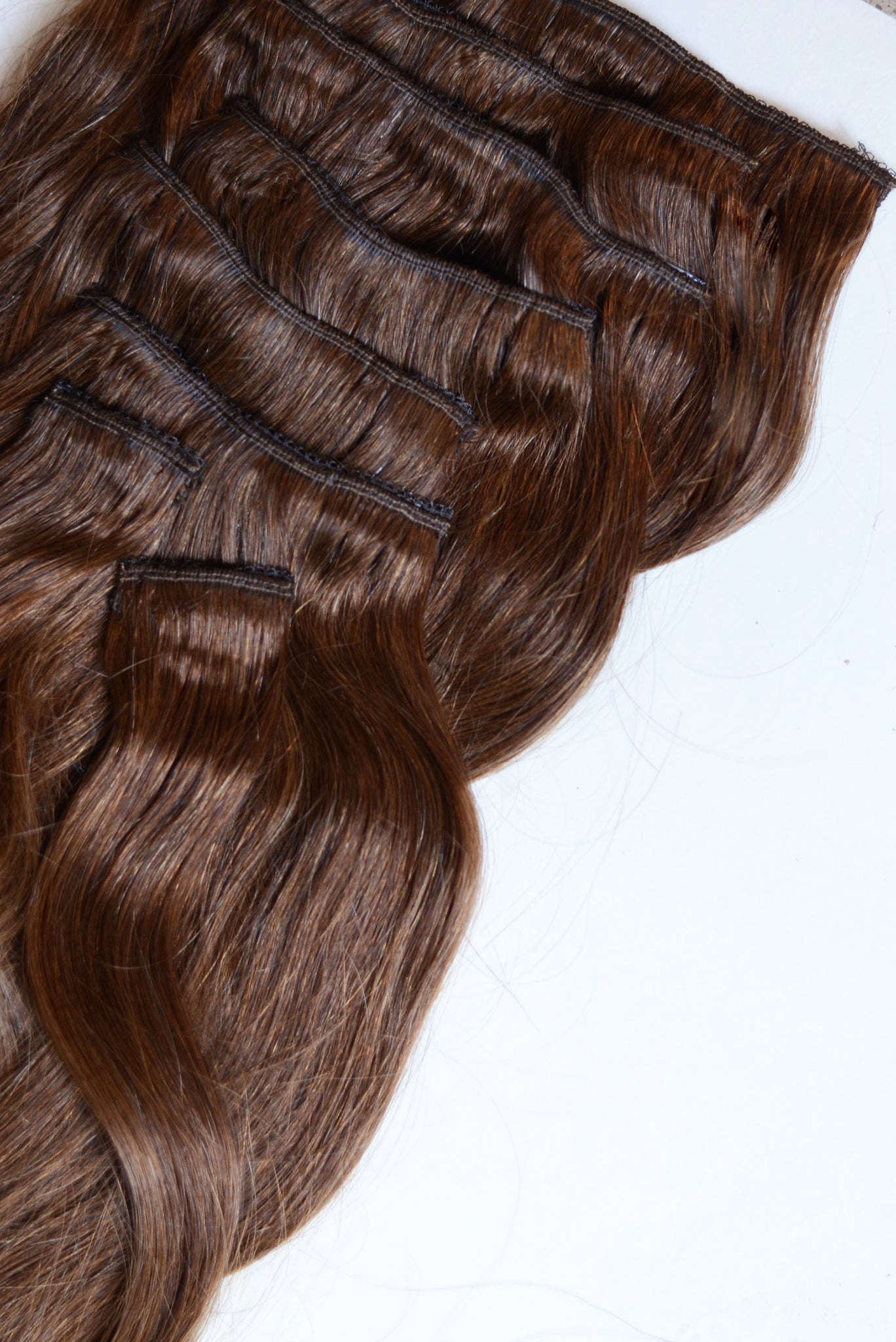 100% Remy clip-in human hair extensions 20 inches Color #6 Chestnut Brown