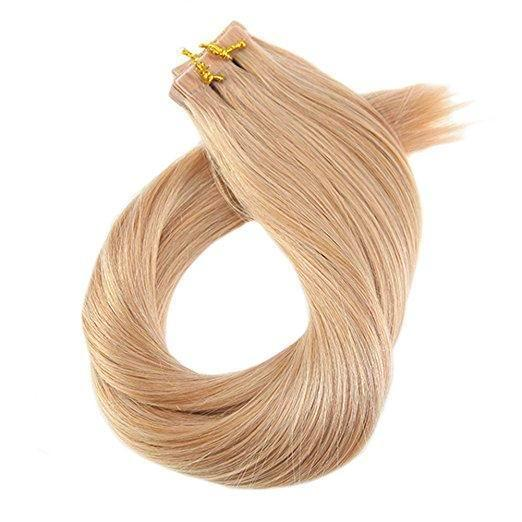 ProLuxe Remy Collection: Tape-In Extensions Color Strawberry Blonde #27 16 inches in length