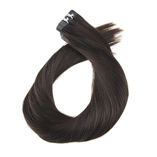 ProLuxe Remy Collection: Tape-In Extensions Color Dark Mocha #2 22 inches in length