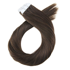 ProLuxe Remy Collection: Tape-In Extensions Color Chocolate Sparkle 22 inches in length