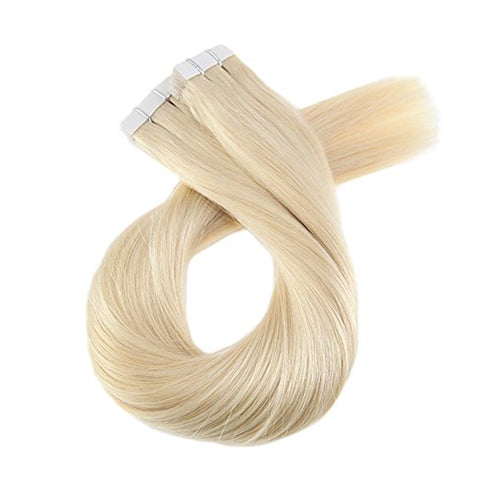 ProLuxe Remy Collection: Tape-In Extensions Color Lightest Blonde #613 22 inches in length