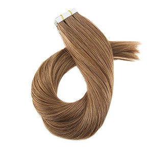 ProLuxe Remy Collection: Tape-In Extensions Color Medium Brown #8 16 inches in length