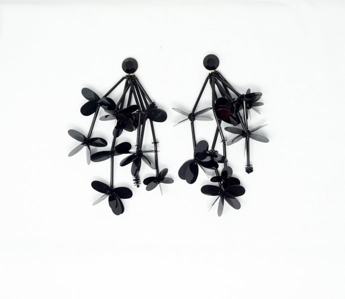 Black Floral Vines Earrings