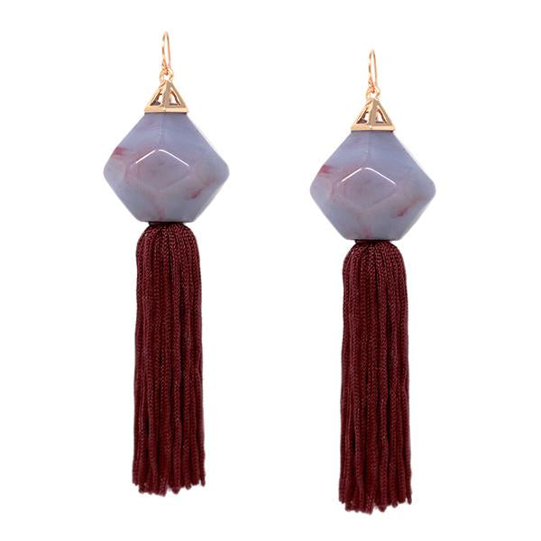 Oversized Marble Tassel Earrings