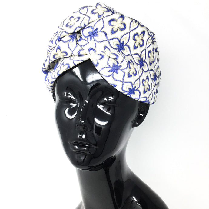 White, Blue, and Gold Headwrap