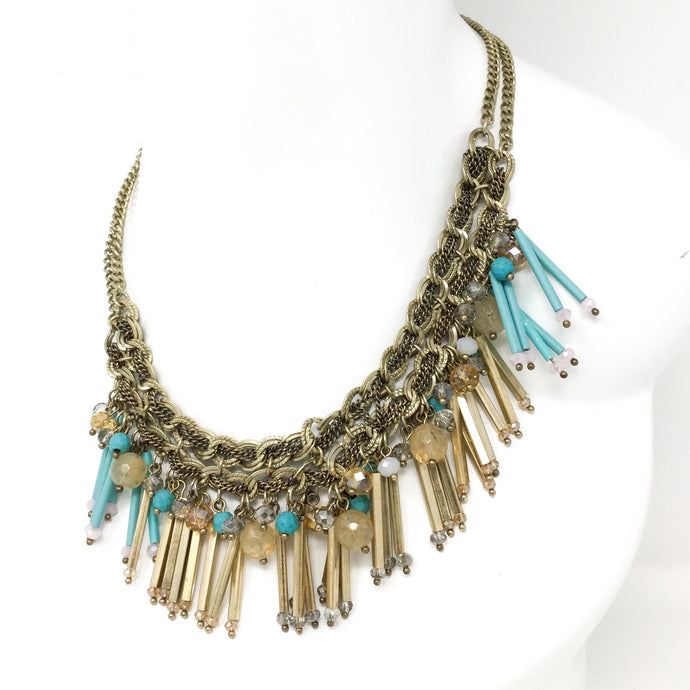 Aqua and Gold Bar Necklace