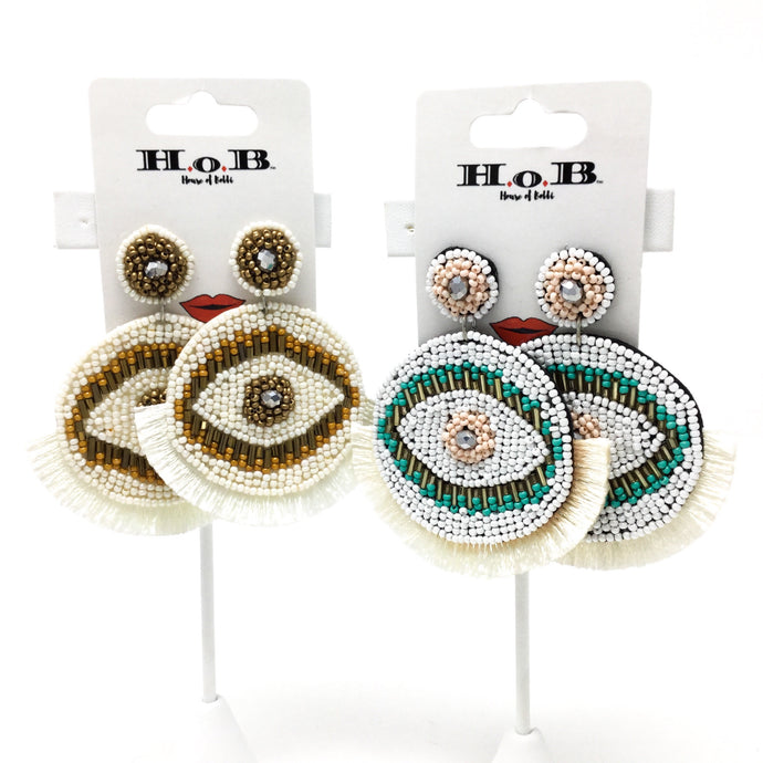 Round Beaded Eye Fringe Earrings