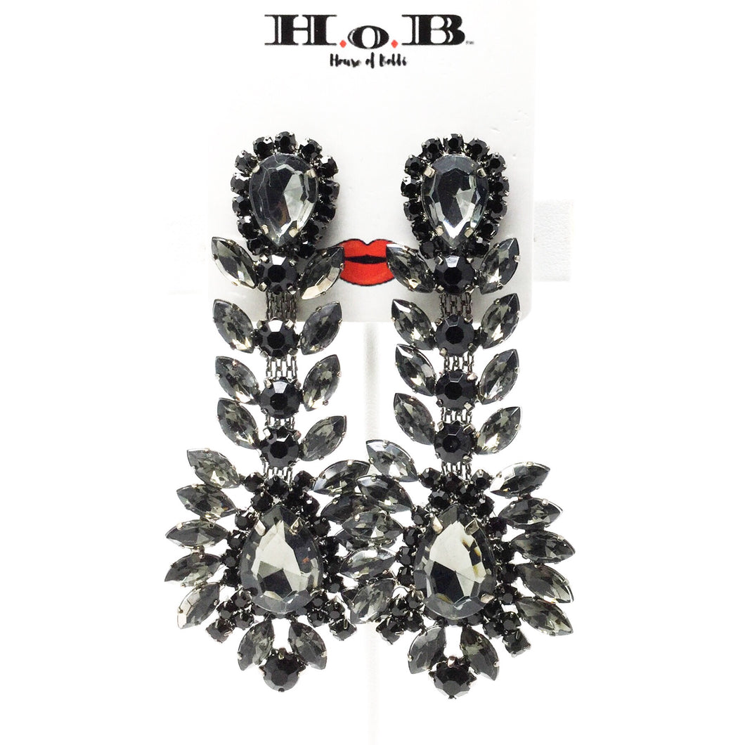 Black Leaf Chandelier Earrings