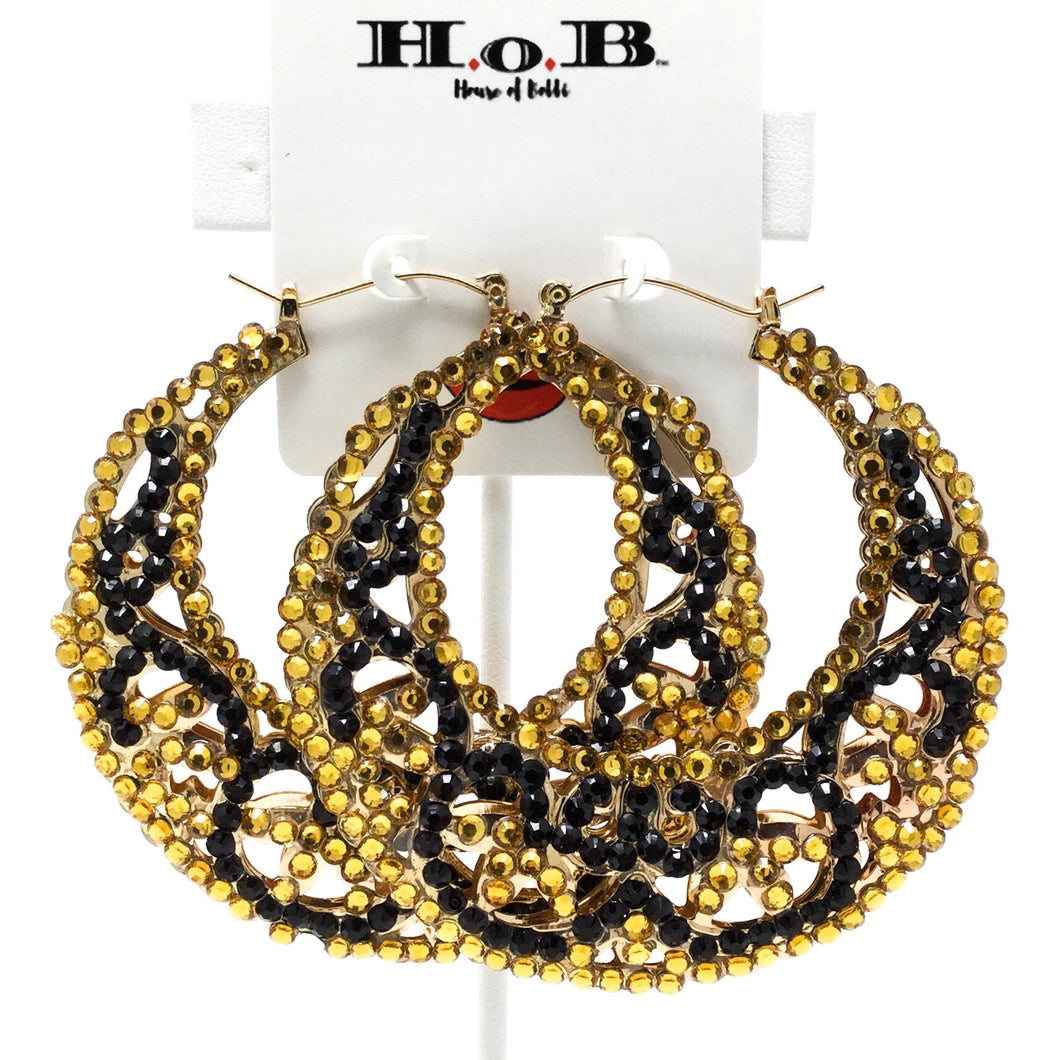 Black and Yellow Gem Hoops