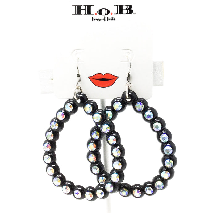 Black and Iridescent Gem Hoops