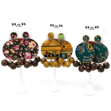 Floral Earrings with Wood Beads
