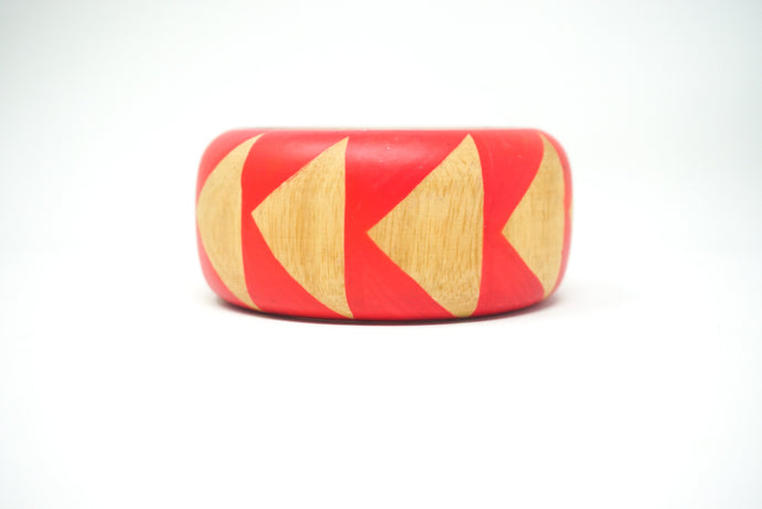 Pink check wooden bangle