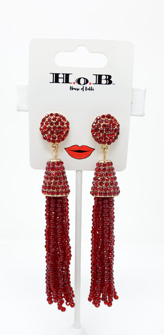 Red Fire Tassel Earrings