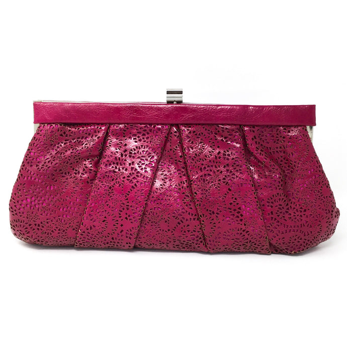 Magenta Clutch with Cutout Pattern