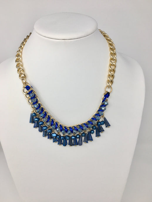Gold Blue Woven Necklace