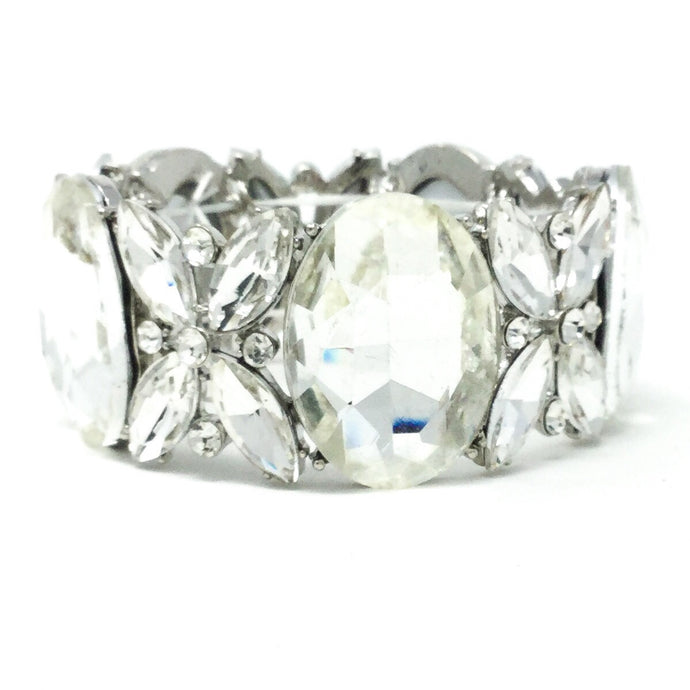 Oval Faceted Gem Bridal Bracelet