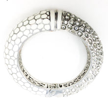 White Enamel and Stone Hinged Bracelet