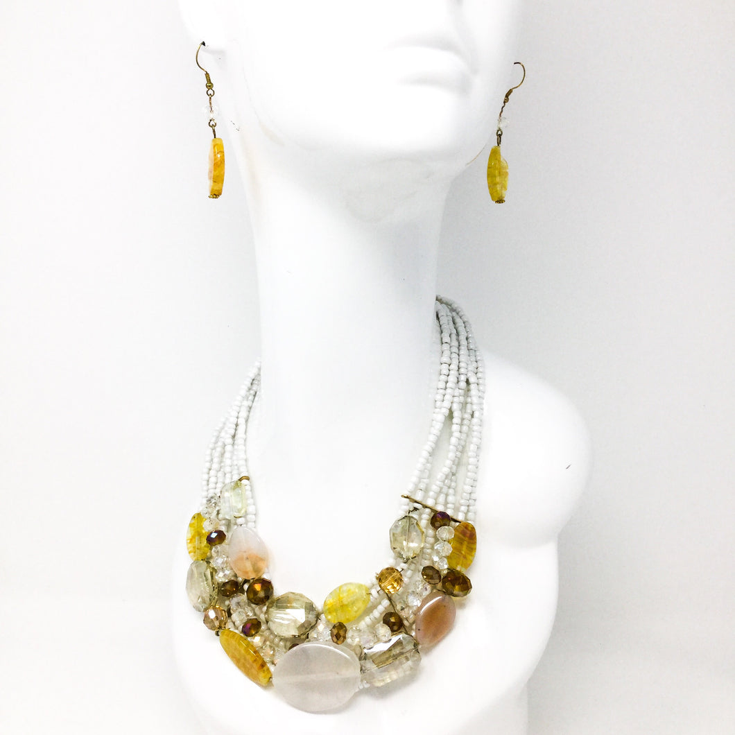 Yellow and White Gem Set