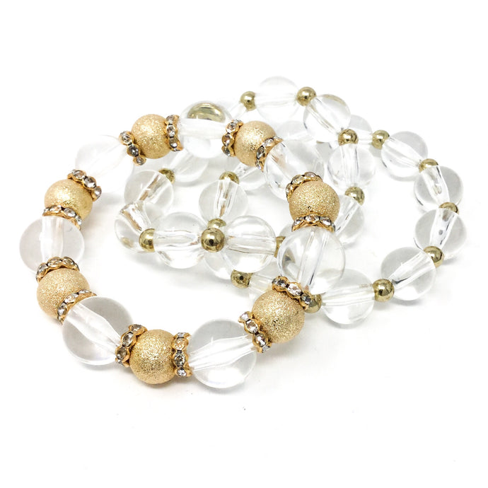 Crystal and Gold Beaded Bracelet