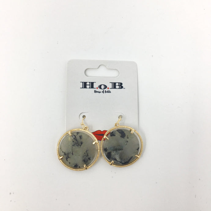 Dark Grey & Gold Stone Circle Earrings