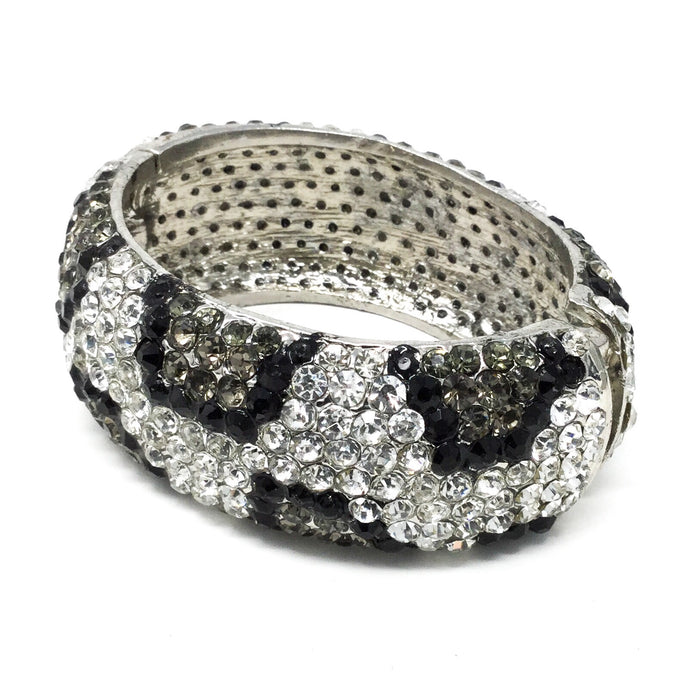 Black and White Leopard Gem Hinged Bracelet