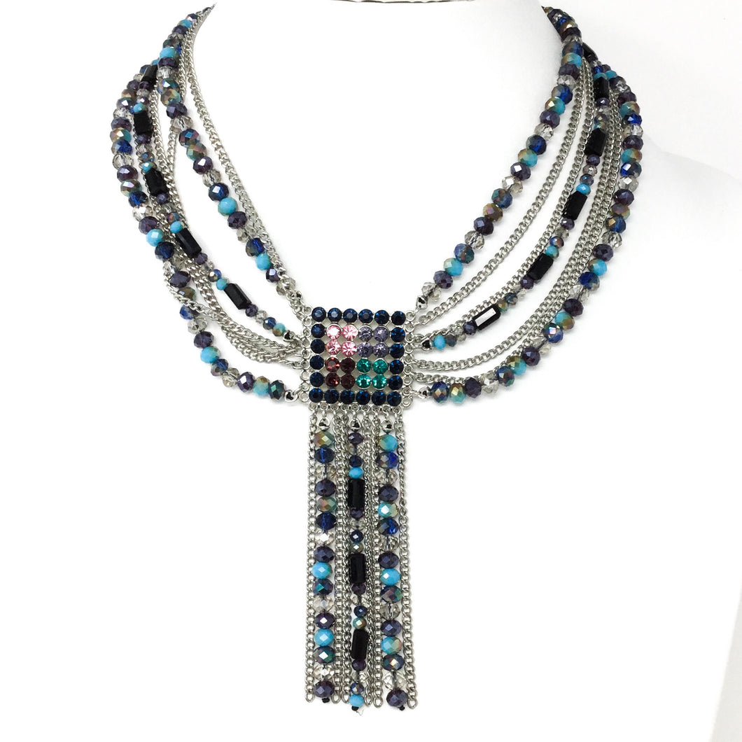 Super Sparkle Blue Gem Tassel Necklace
