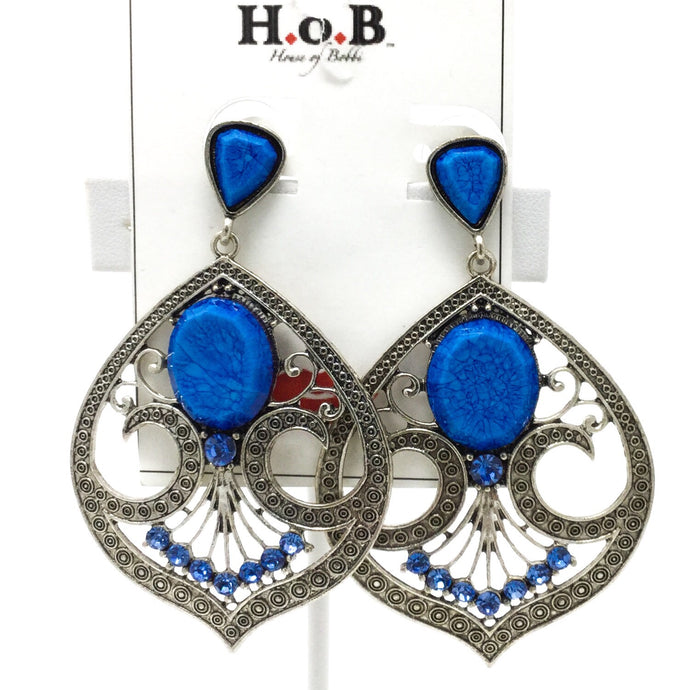 Ornate Blue Earrings