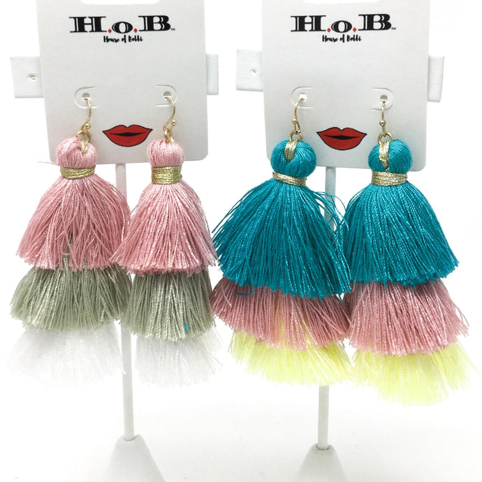 Three Tier Tassel Earrings