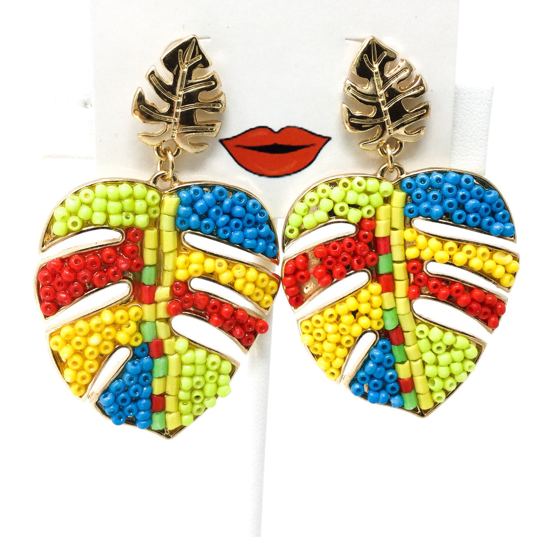 Multicolored Beaded Leaf Earrings