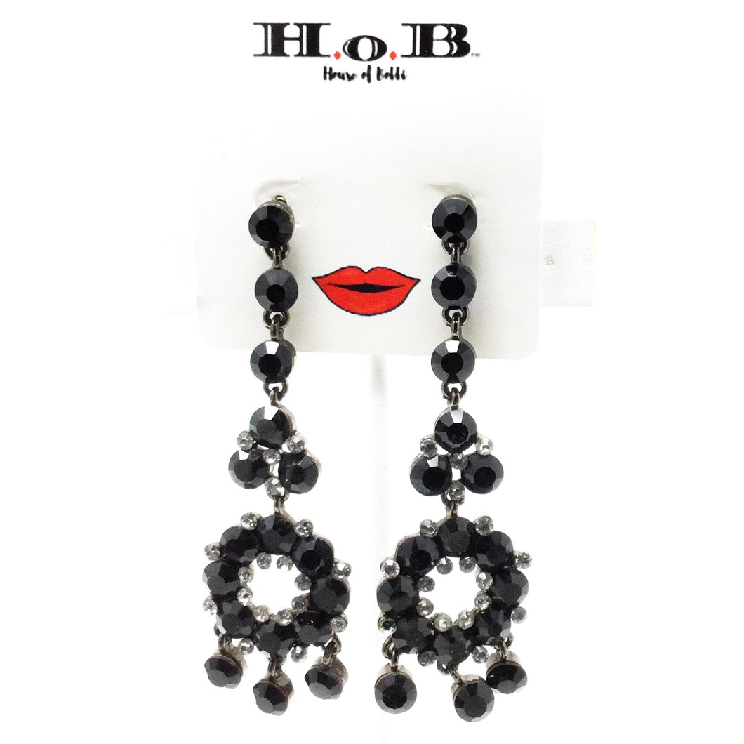 Black Circle Drop Earrings