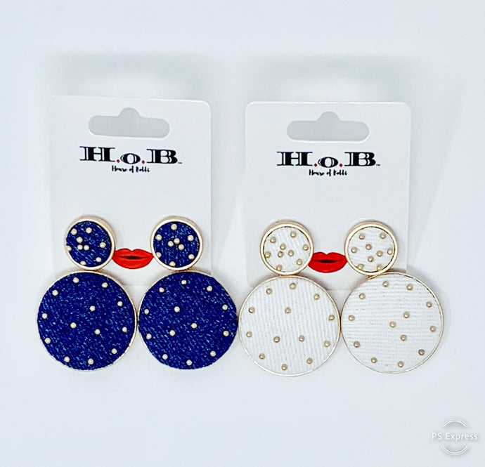 Polka-Denim Earrings
