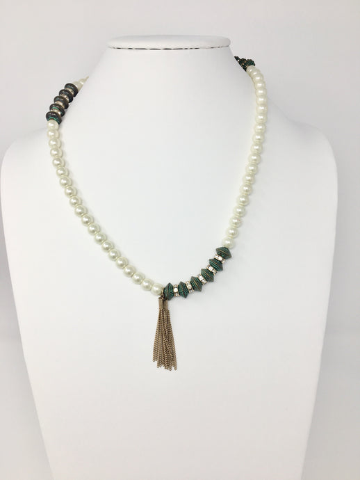 Pearl And Green Necklace