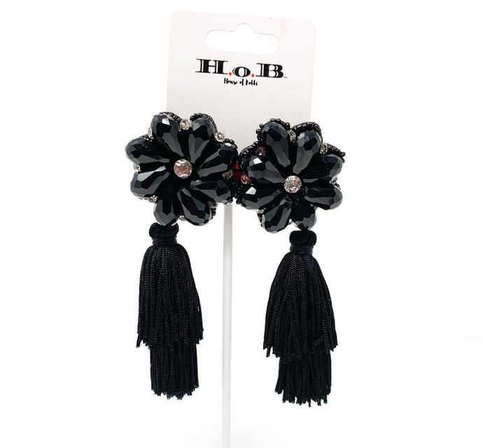 Black And Silver Flower Tassel Earrings