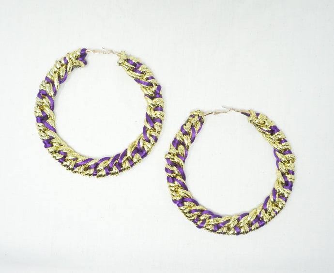 Purple n' Gold Large Hoops