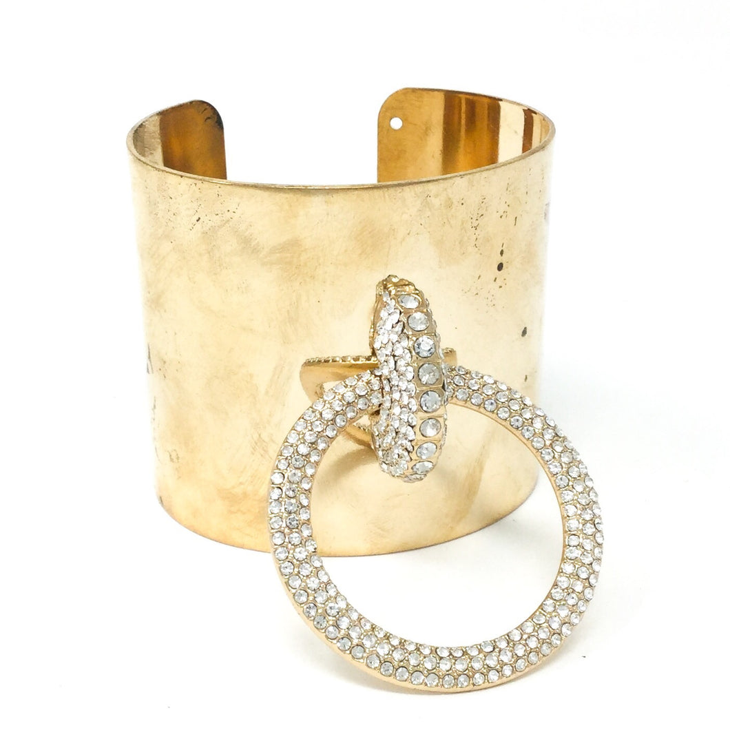 Golden Cuff with Gemstone Hoop