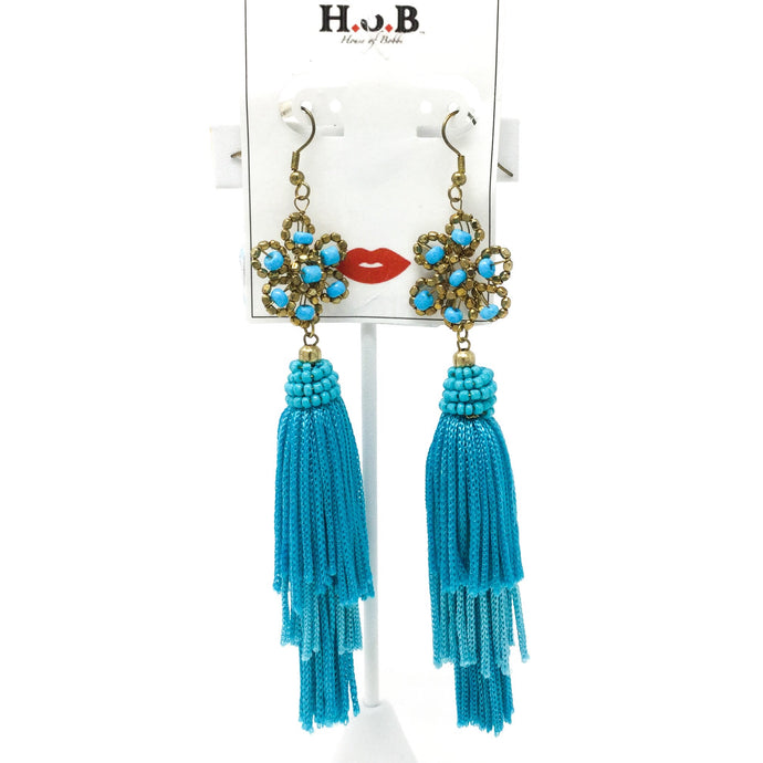 Sky Blue Tasseled Earrings