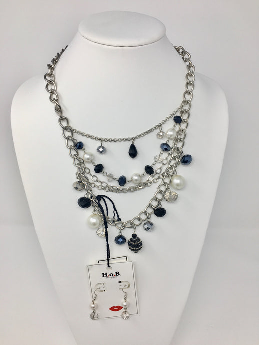 Silver And Pearl Chandelier Necklace