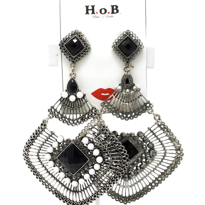 Silver and Black Chandelier Earrings